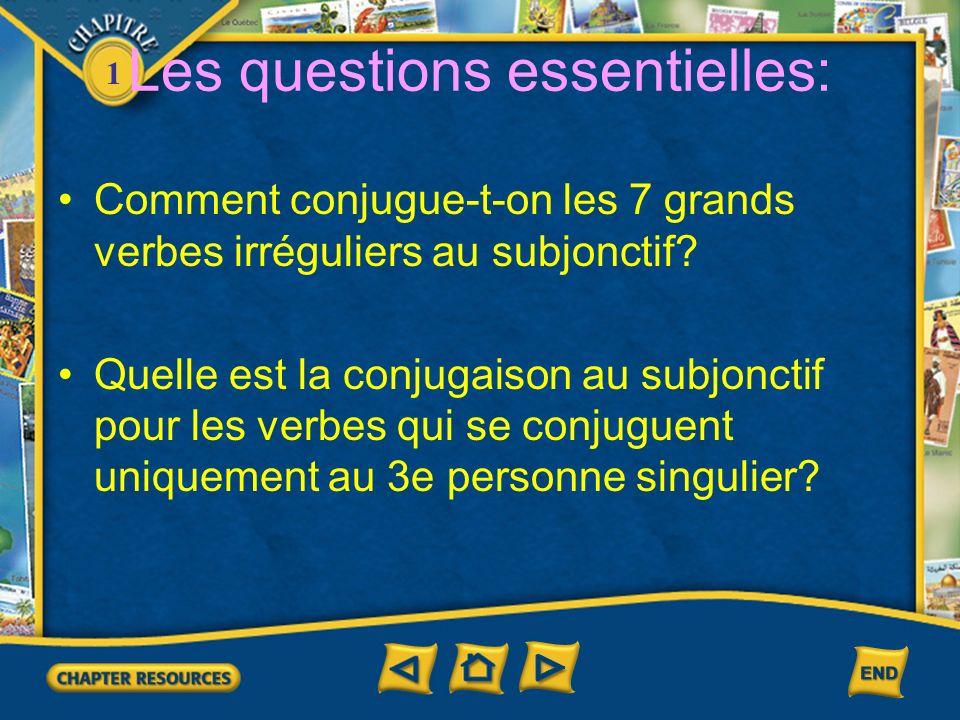 1 Les questions essentielles: Comment conjugue-t-on les 7 grands verbes irréguliers au subjonctif? Quelle est la conjugaison au subjonctif pour les ve