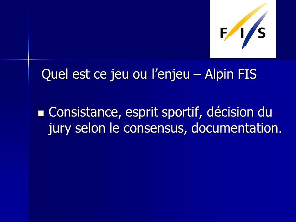Quel est ce jeu ou lenjeu – Alpin FIS Quel est ce jeu ou lenjeu – Alpin FIS Consistance, esprit sportif, décision du jury selon le consensus, documentation.