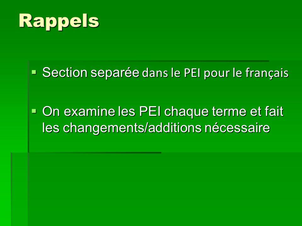 Rappels Section separée dans le PEI pour le français Section separée dans le PEI pour le français On examine les PEI chaque terme et fait les changements/additions nécessaire On examine les PEI chaque terme et fait les changements/additions nécessaire