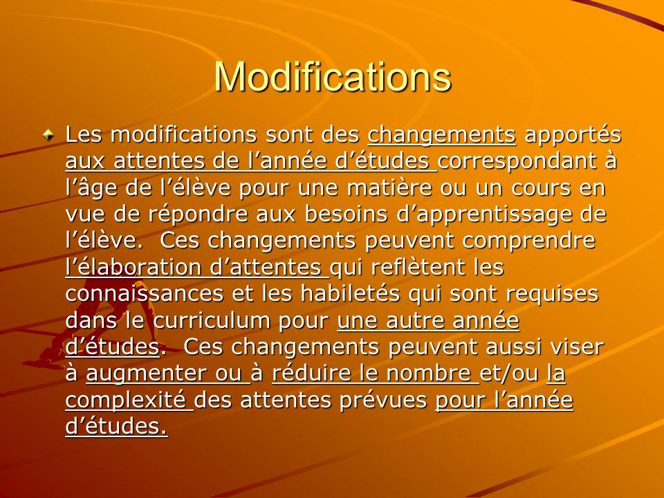Modifications Les modifications sont des changements apportés aux attentes de lannée détudes correspondant à lâge de lélève pour une matière ou un cours en vue de répondre aux besoins dapprentissage de lélève.
