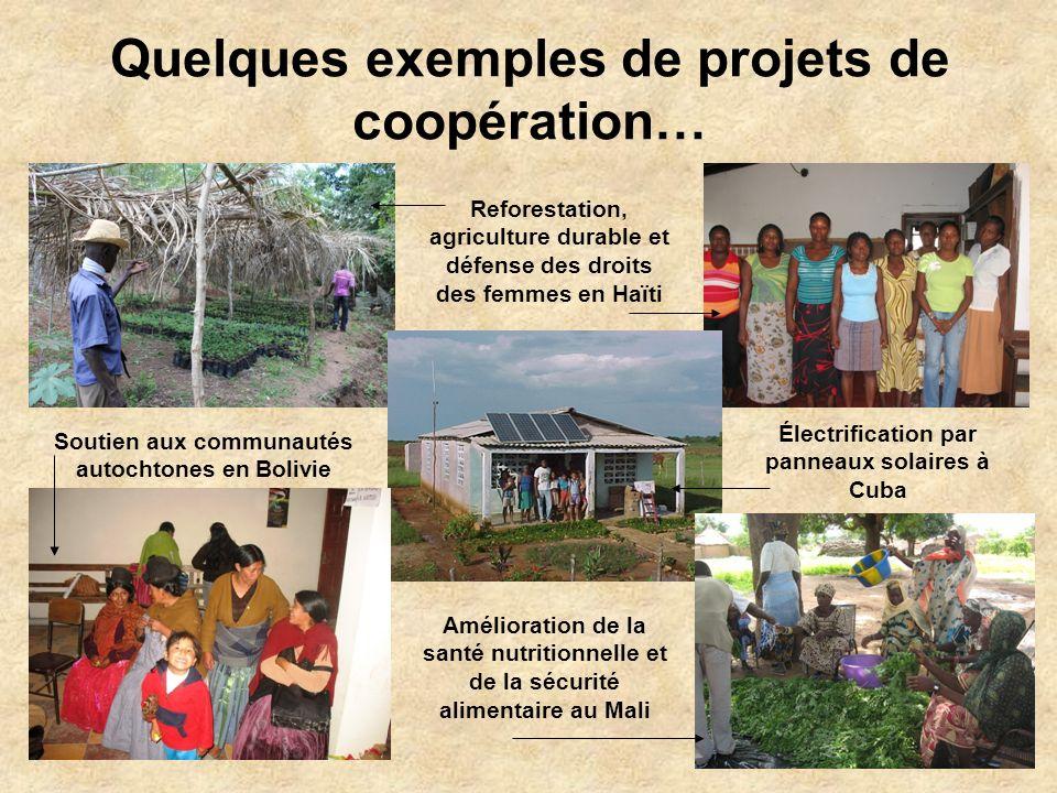Quelques exemples de projets de coopération… Reforestation, agriculture durable et défense des droits des femmes en Haïti Soutien aux communautés autochtones en Bolivie Électrification par panneaux solaires à Cuba Amélioration de la santé nutritionnelle et de la sécurité alimentaire au Mali
