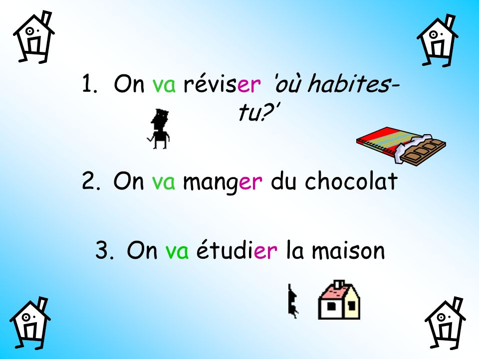 1.On va réviser où habites- tu? 2.On va manger du chocolat 3.On va étudier la maison