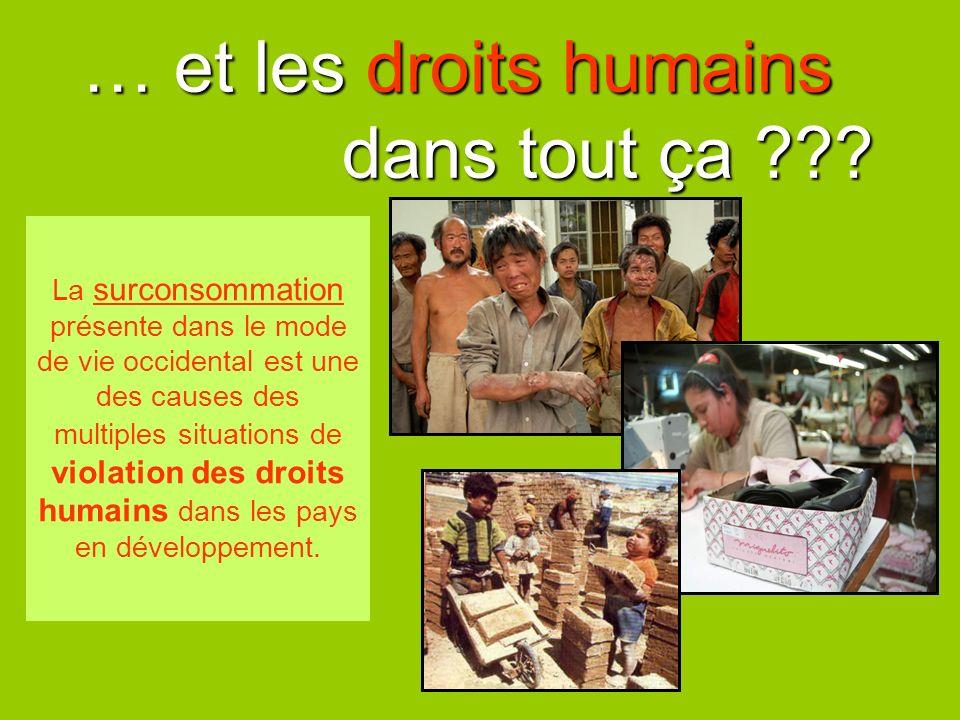… et les droits humains dans tout ça ??? La surconsommation présente dans le mode de vie occidental est une des causes des multiples situations de vio