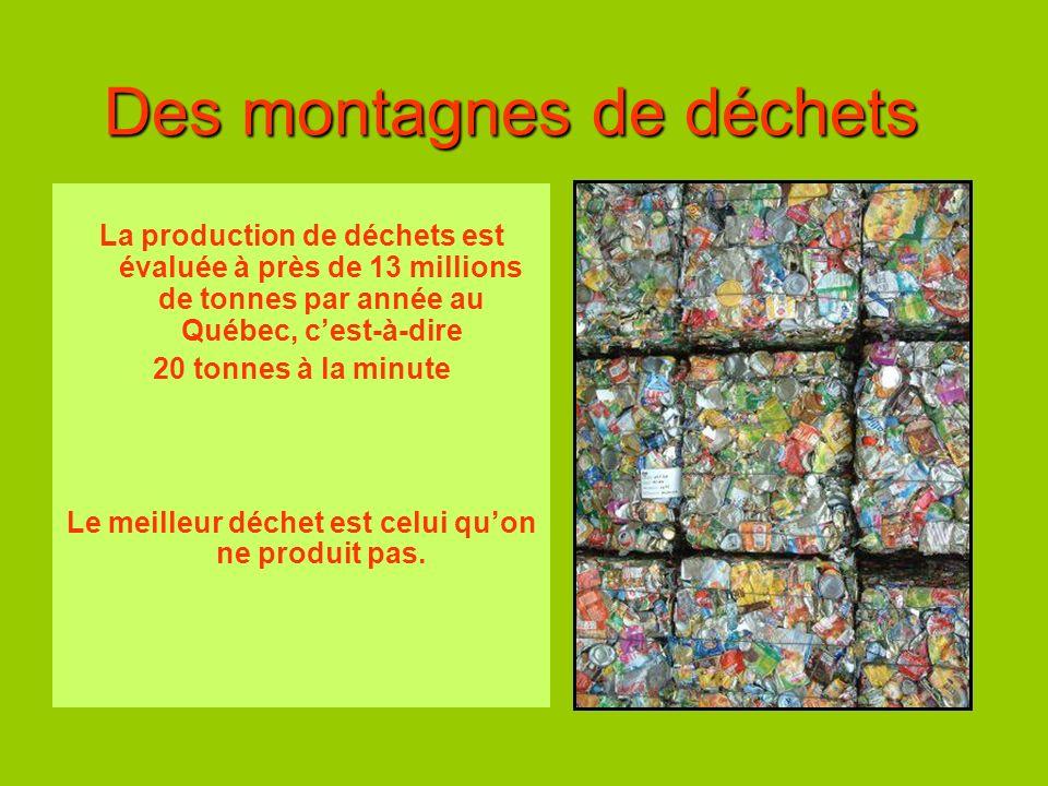 Des montagnes de déchets La production de déchets est évaluée à près de 13 millions de tonnes par année au Québec, cest-à-dire 20 tonnes à la minute L