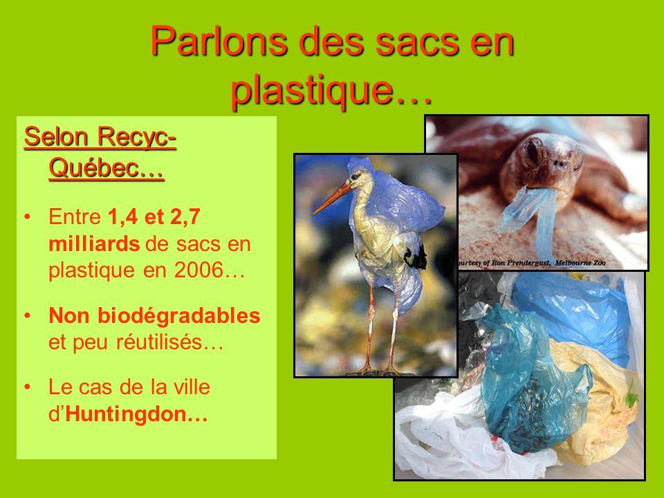 Parlons des sacs en plastique… Selon Recyc- Québec… Entre 1,4 et 2,7 milliards de sacs en plastique en 2006… Non biodégradables et peu réutilisés… Le