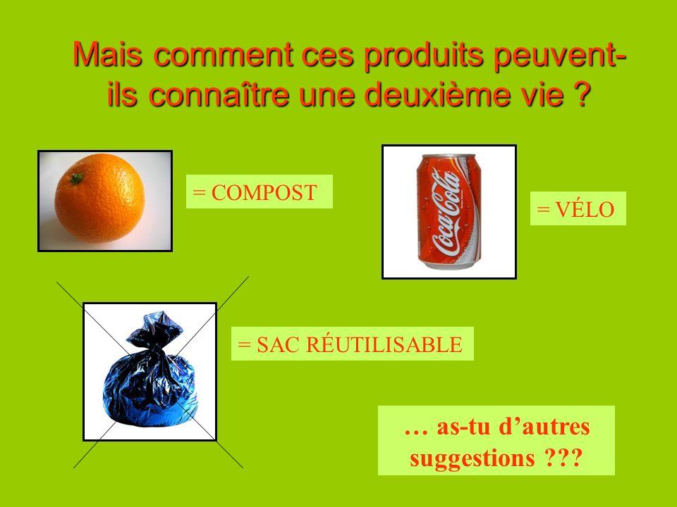 Mais comment ces produits peuvent- ils connaître une deuxième vie ? = COMPOST = VÉLO = SAC RÉUTILISABLE … as-tu dautres suggestions ???