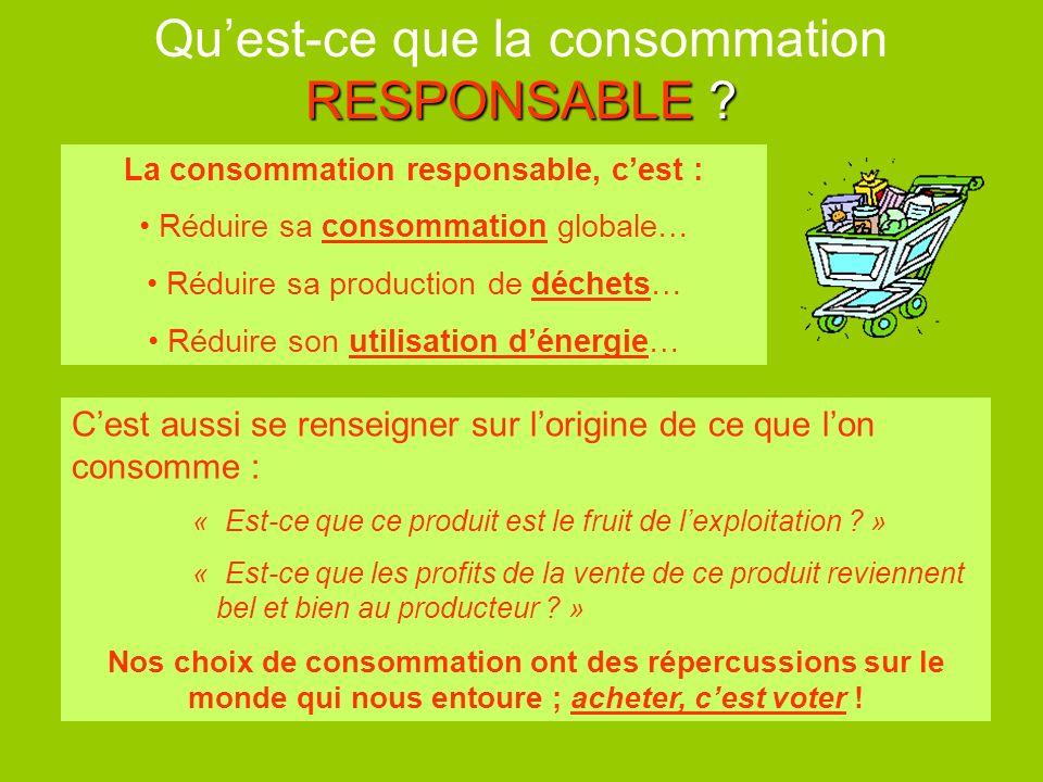 RESPONSABLE ? Quest-ce que la consommation RESPONSABLE ? Cest aussi se renseigner sur lorigine de ce que lon consomme : « Est-ce que ce produit est le