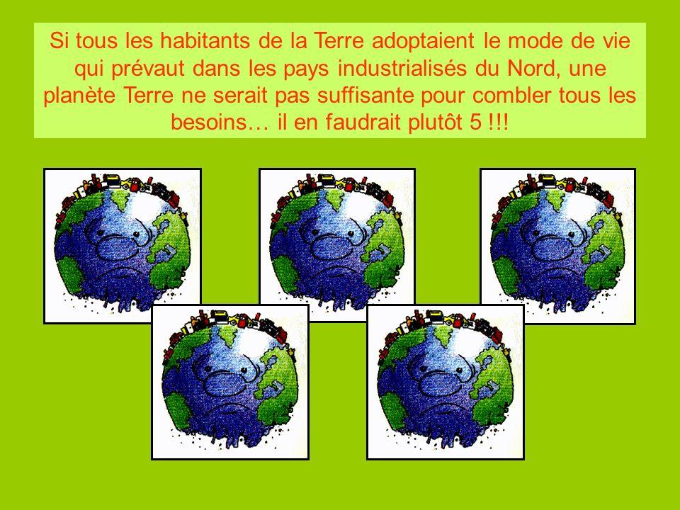 Si tous les habitants de la Terre adoptaient le mode de vie qui prévaut dans les pays industrialisés du Nord, une planète Terre ne serait pas suffisan
