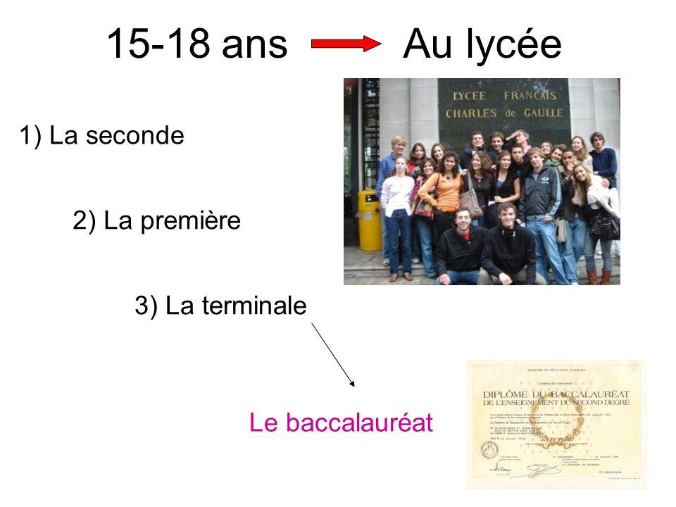 15-18 ans Au lycée 1) La seconde 2) La première 3) La terminale Le baccalauréat