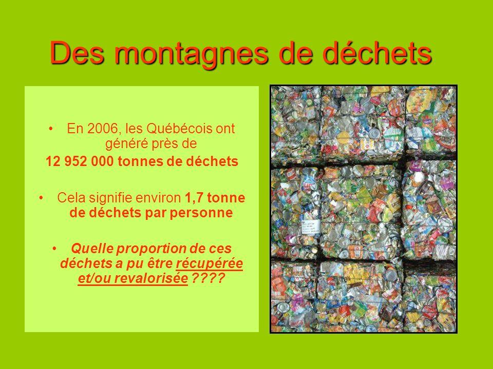 Des montagnes de déchets En 2006, les Québécois ont généré près de 12 952 000 tonnes de déchets Cela signifie environ 1,7 tonne de déchets par personn