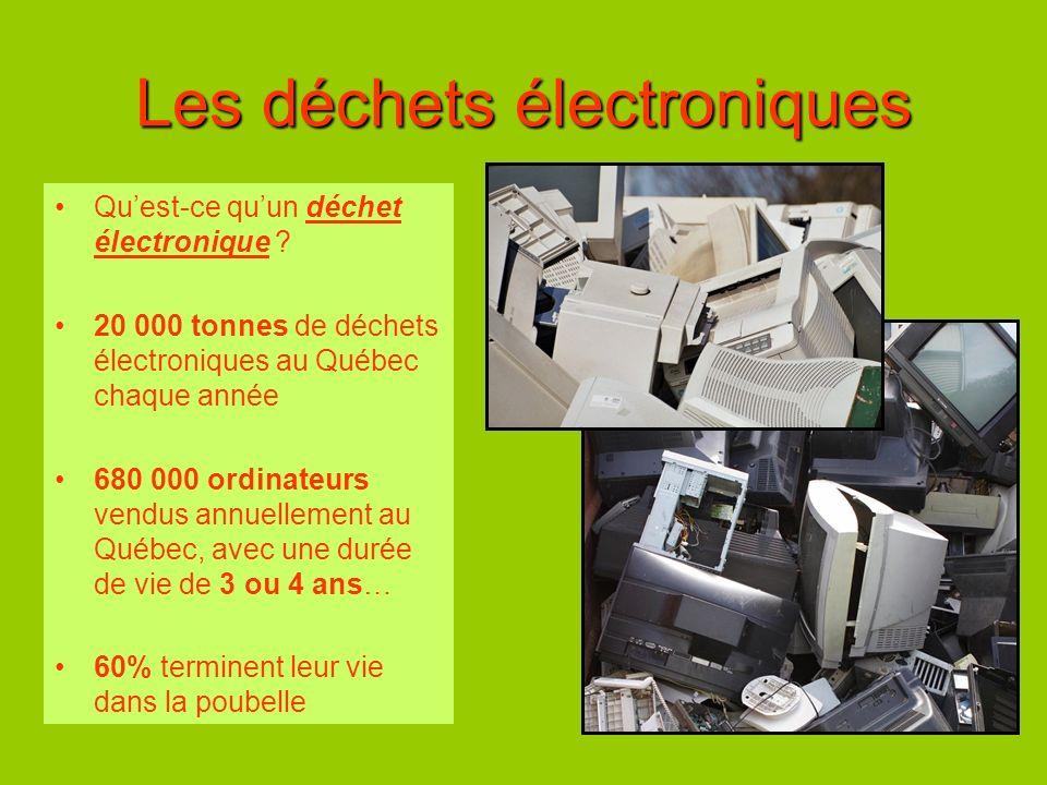 Les déchets électroniques Quest-ce quun déchet électronique ? 20 000 tonnes de déchets électroniques au Québec chaque année 680 000 ordinateurs vendus