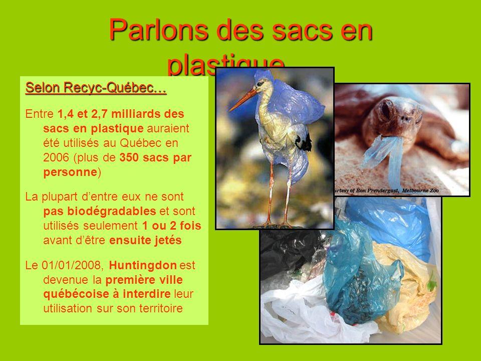 Parlons des sacs en plastique… Selon Recyc-Québec… Entre 1,4 et 2,7 milliards des sacs en plastique auraient été utilisés au Québec en 2006 (plus de 3