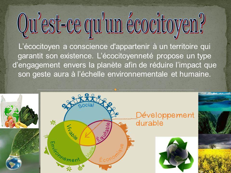 Il est produit à partir de matières premières renouvelables; la production de déchets à la source est contrôlée; il est efficace au point de vue énergétique; il est issu d un processus de recyclage; il peut être recyclé, récupéré, rechargeable; il est biodégradable; il nest pas suremballé; en général, il a un label reconnaissable attestant à la fois la qualité d usage du produit et sa qualité écologique.