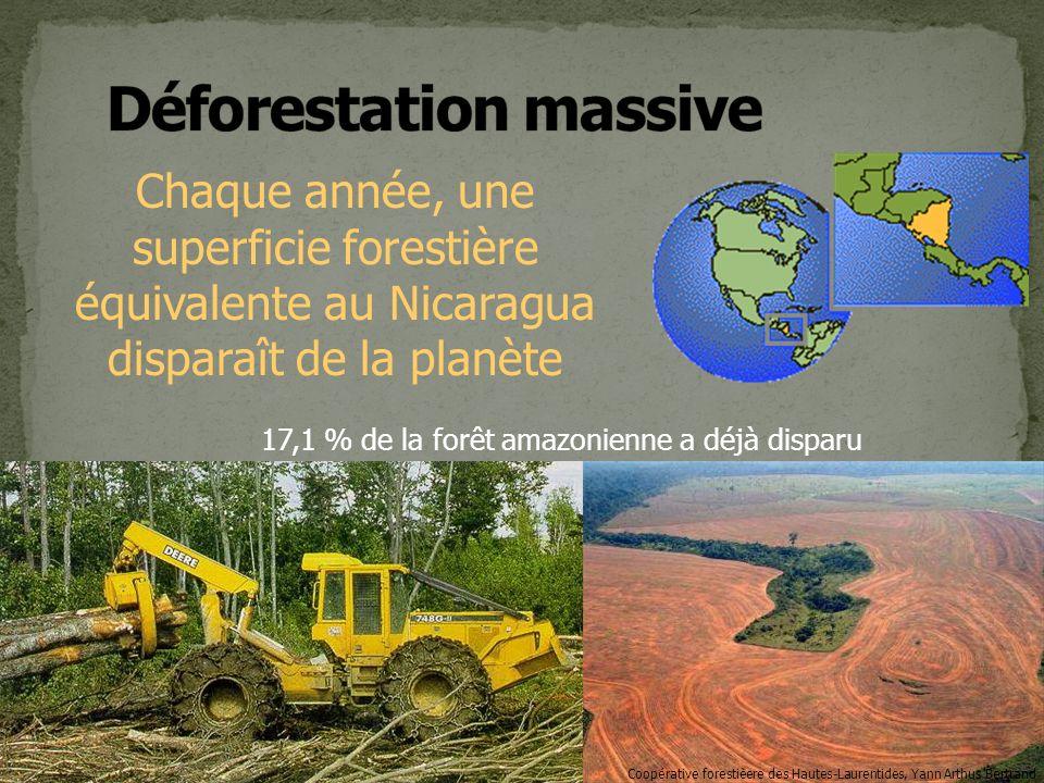 Chaque année, une superficie forestière équivalente au Nicaragua disparaît de la planète Coopérative forestièere des Hautes-Laurentides, Yann Arthus Bertrand 17,1 % de la forêt amazonienne a déjà disparu