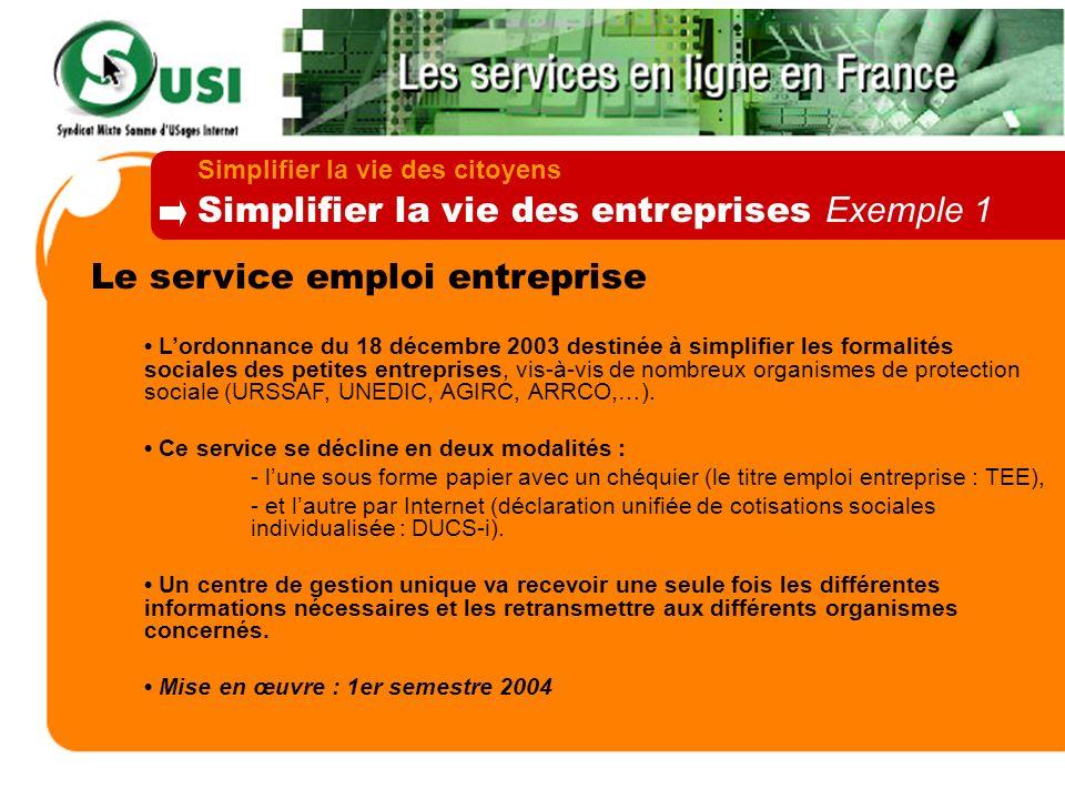 Le service emploi entreprise Lordonnance du 18 décembre 2003 destinée à simplifier les formalités sociales des petites entreprises, vis-à-vis de nombr