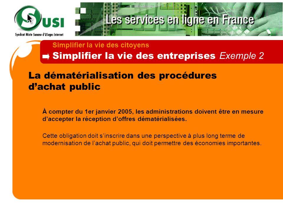 La dématérialisation des procédures dachat public À compter du 1er janvier 2005, les administrations doivent être en mesure daccepter la réception dof