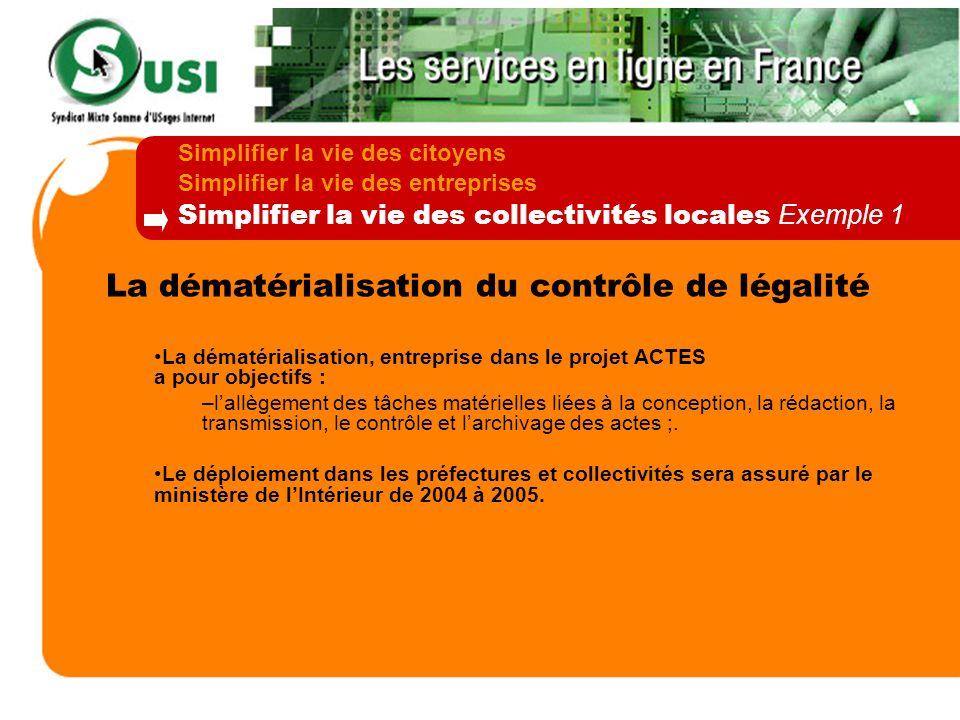 La dématérialisation du contrôle de légalité La dématérialisation, entreprise dans le projet ACTES a pour objectifs : –lallègement des tâches matériel