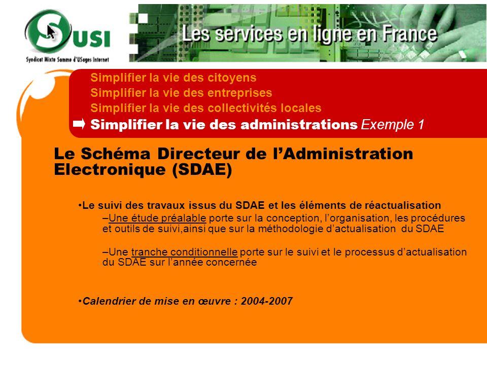 Le Schéma Directeur de lAdministration Electronique (SDAE) Le suivi des travaux issus du SDAE et les éléments de réactualisation –Une étude préalable
