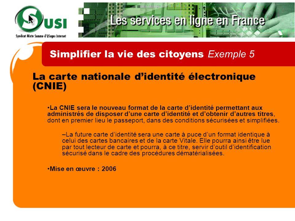 La carte nationale didentité électronique (CNIE) La CNIE sera le nouveau format de la carte didentité permettant aux administrés de disposer dune cart