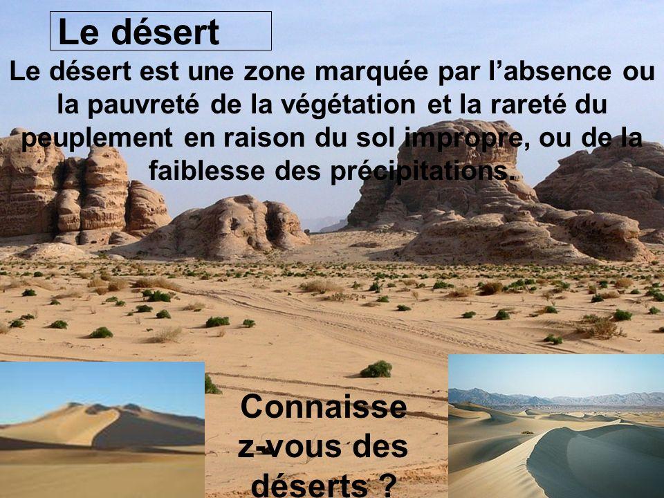 Le désert Le désert est une zone marquée par labsence ou la pauvreté de la végétation et la rareté du peuplement en raison du sol impropre, ou de la f