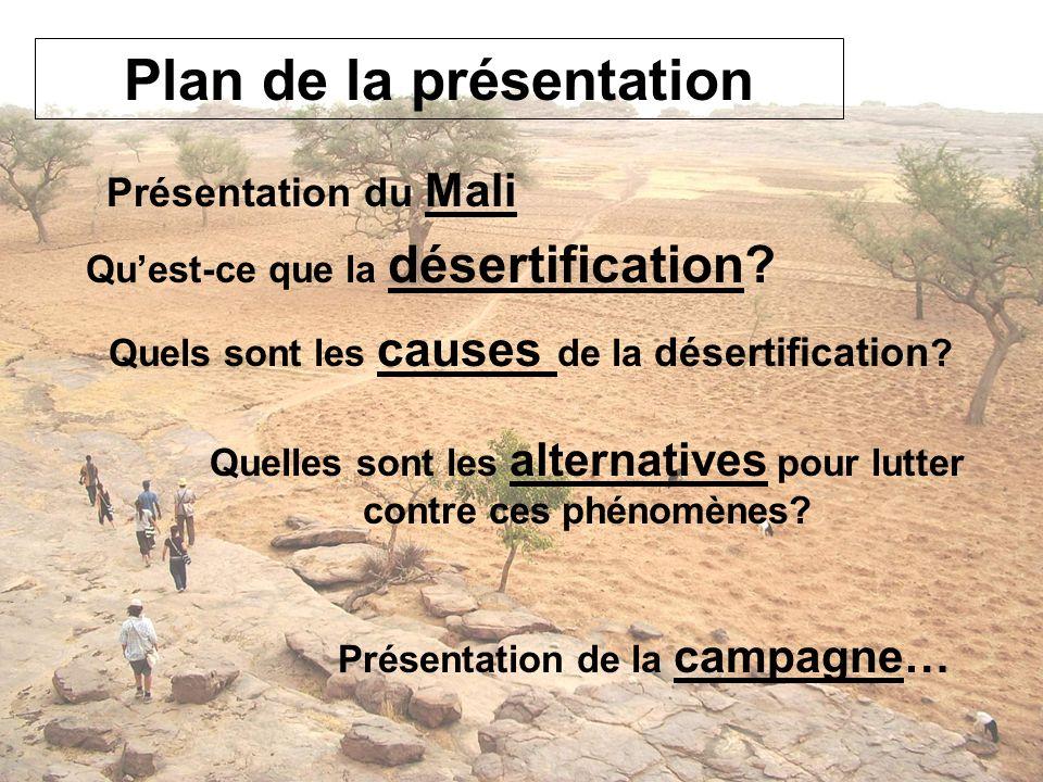 Plan de la présentation Quest-ce que la désertification? Quels sont les causes de la désertification ? Quelles sont les alternatives pour lutter contr
