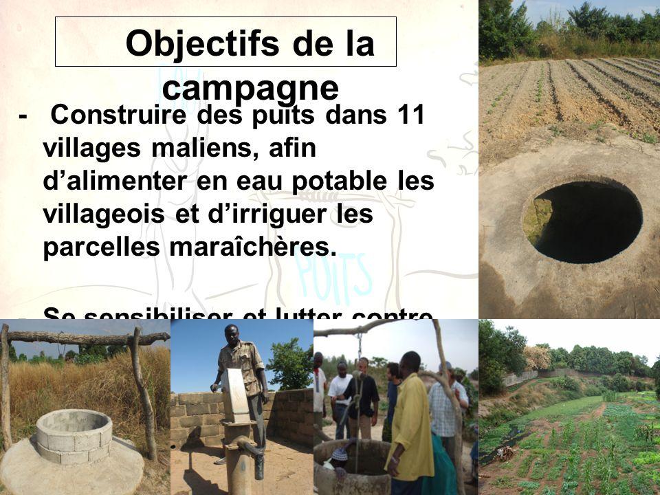 - Construire des puits dans 11 villages maliens, afin dalimenter en eau potable les villageois et dirriguer les parcelles maraîchères. -Se sensibilise