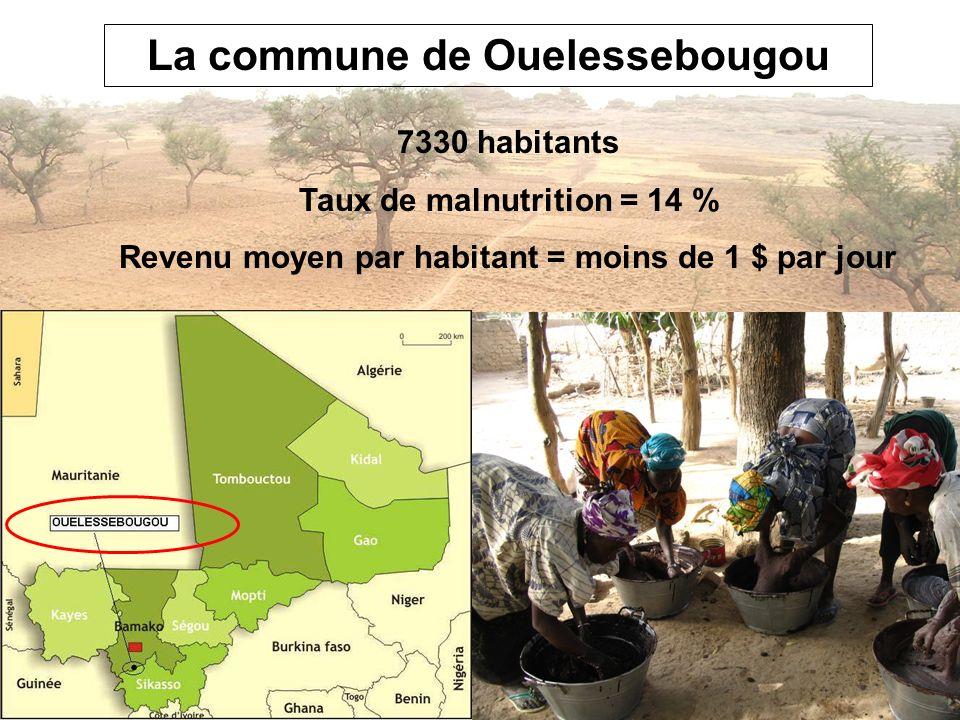 La commune de Ouelessebougou 7330 habitants Taux de malnutrition = 14 % Revenu moyen par habitant = moins de 1 $ par jour