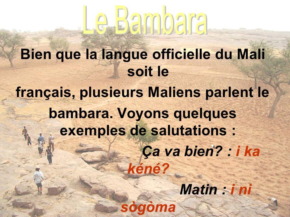 Bien que la langue officielle du Mali soit le français, plusieurs Maliens parlent le bambara. Voyons quelques exemples de salutations : Ça va bien? :