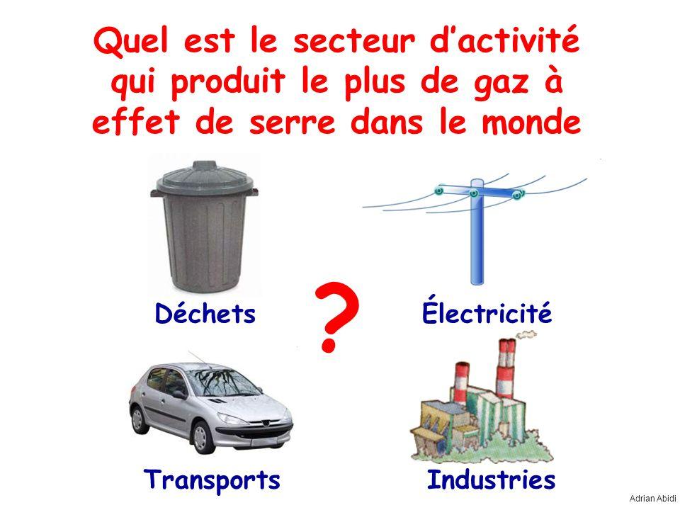 Quel est le secteur dactivité qui produit le plus de gaz à effet de serre dans le monde ? Adrian Abidi Déchets IndustriesTransports Électricité