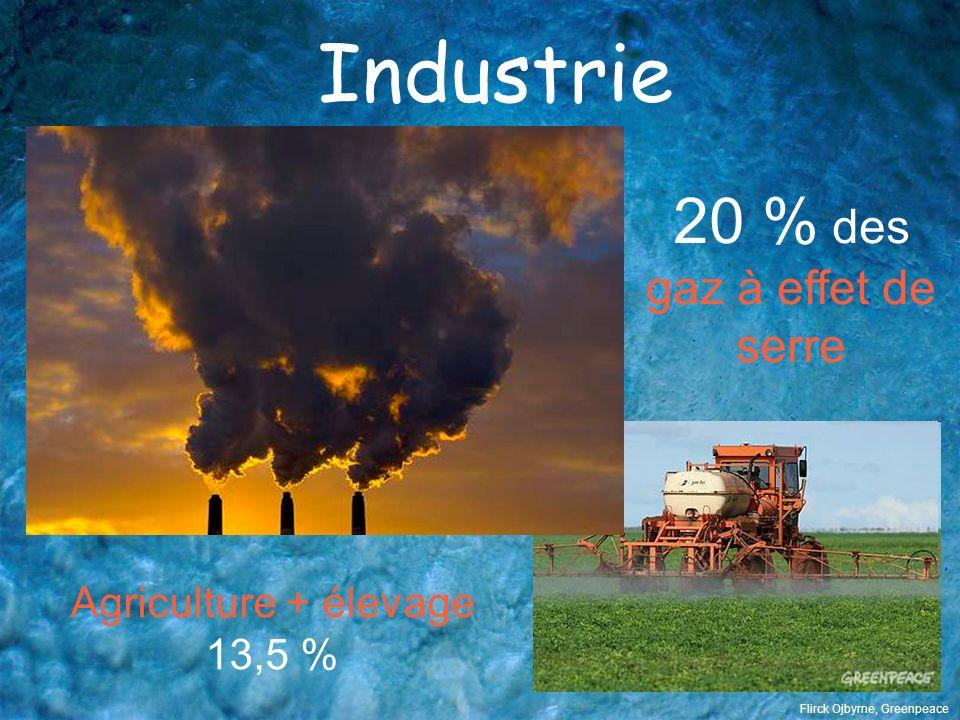 Industrie 20 % des gaz à effet de serre Agriculture + élevage 13,5 % Flirck Ojbyrne, Greenpeace