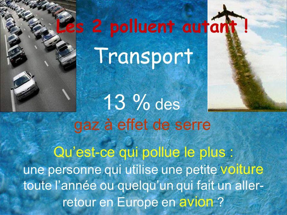 Transport Quest-ce qui pollue le plus : une personne qui utilise une petite voiture toute lannée ou quelquun qui fait un aller- retour en Europe en av
