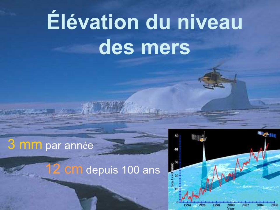 Élévation du niveau des mers 3 mm par ann é e 12 cm depuis 100 ans