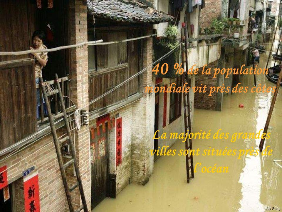 La majorité des grandes villes sont situées près de locéan 40 % de la population mondiale vit près des côtes Aly Song