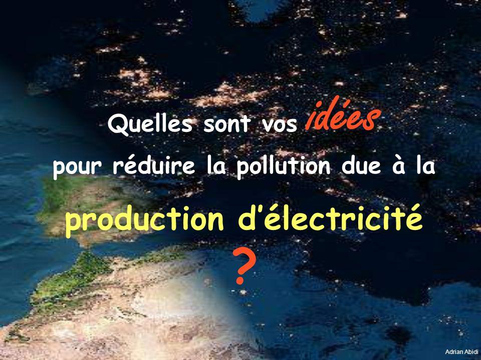 Quelles sont vos idées pour réduire la pollution due à la production délectricité ? Adrian Abidi