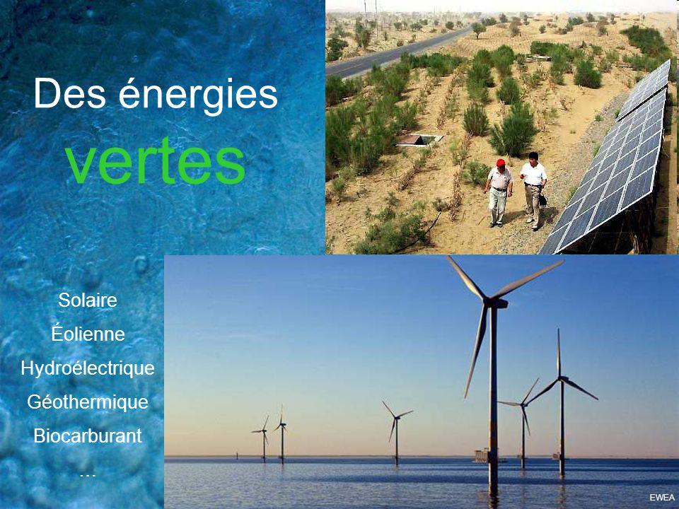 Des énergies vertes Solaire Éolienne Hydroélectrique Géothermique Biocarburant … EWEA