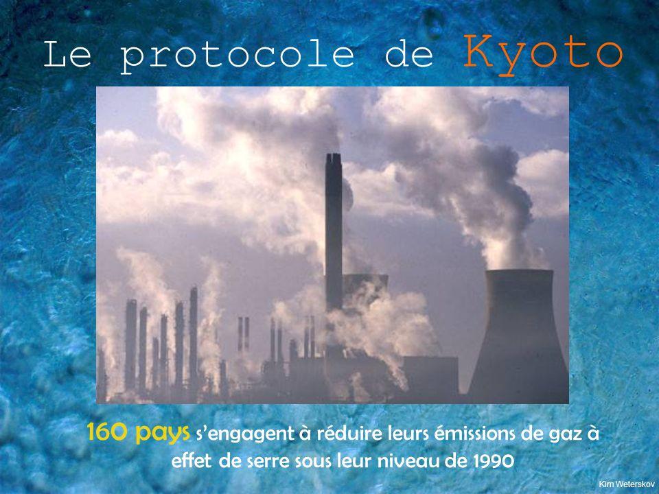 Le protocole de Kyoto Kim Weterskov 160 pays sengagent à réduire leurs émissions de gaz à effet de serre sous leur niveau de 1990