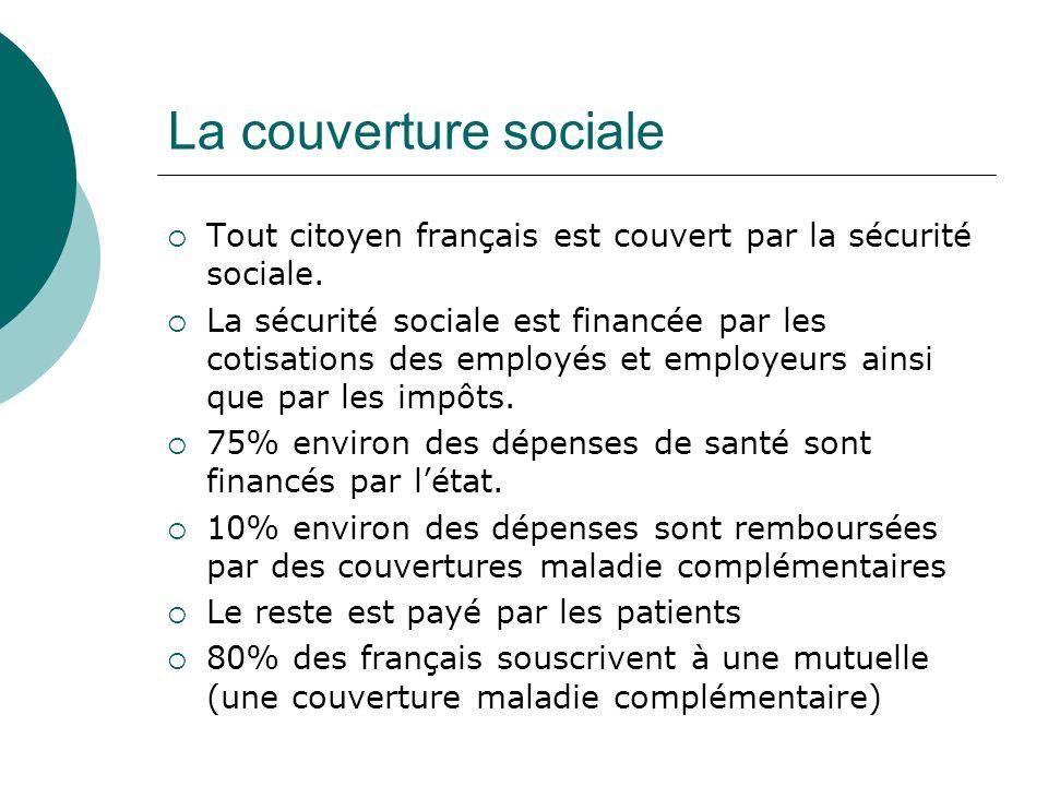 La couverture sociale Tout citoyen français est couvert par la sécurité sociale. La sécurité sociale est financée par les cotisations des employés et