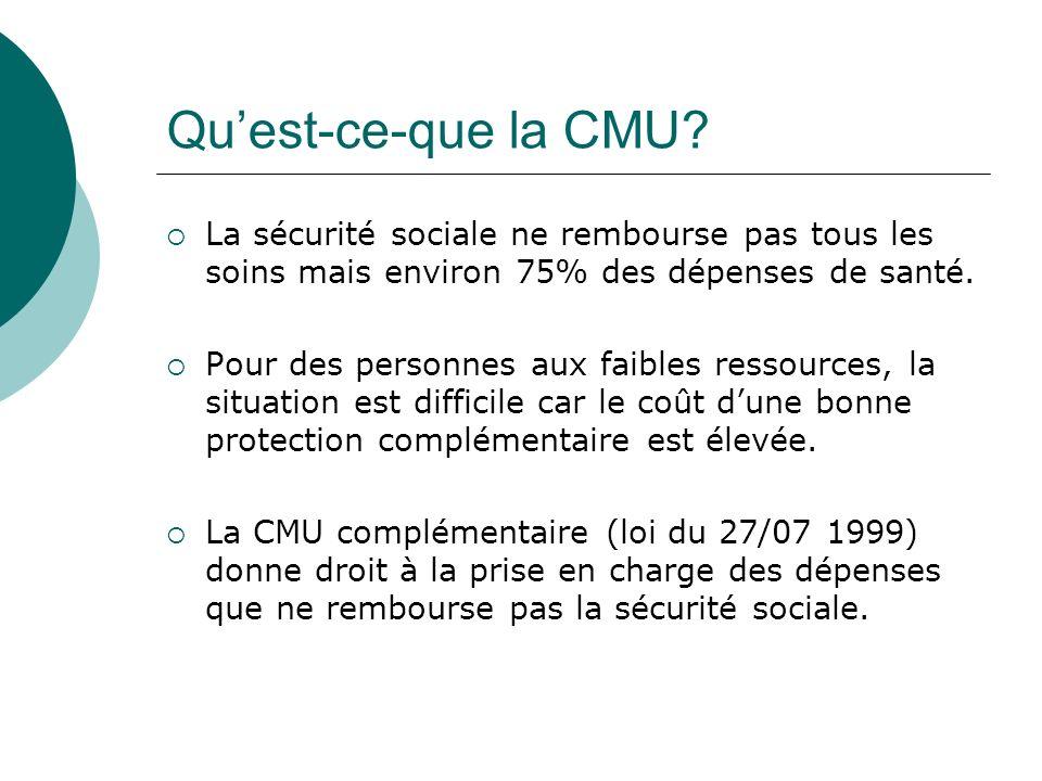 Quest-ce-que la CMU? La sécurité sociale ne rembourse pas tous les soins mais environ 75% des dépenses de santé. Pour des personnes aux faibles ressou