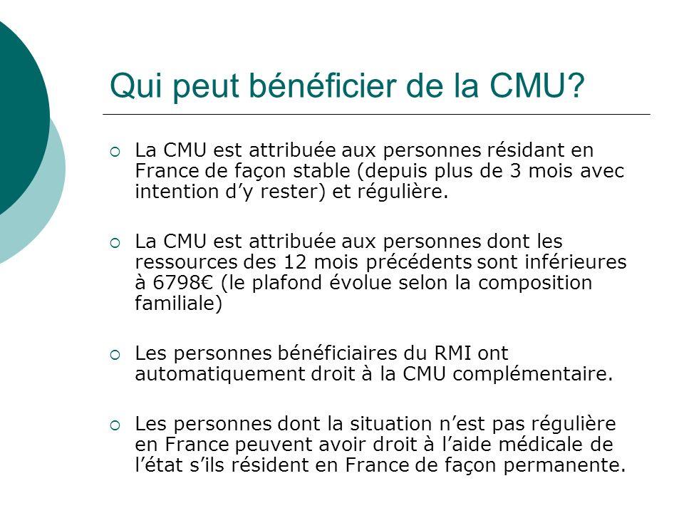 Qui peut bénéficier de la CMU? La CMU est attribuée aux personnes résidant en France de façon stable (depuis plus de 3 mois avec intention dy rester)