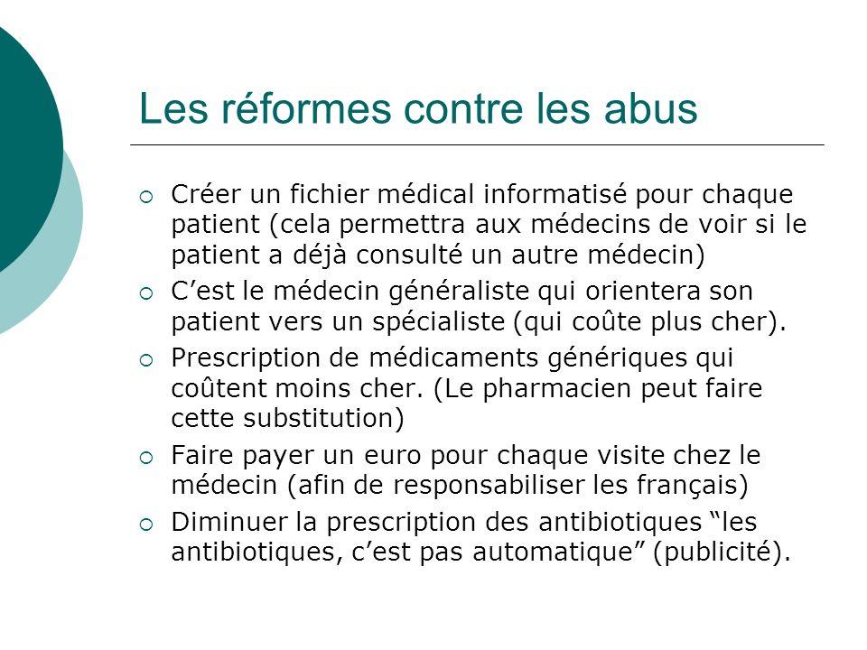 Les réformes contre les abus Créer un fichier médical informatisé pour chaque patient (cela permettra aux médecins de voir si le patient a déjà consul