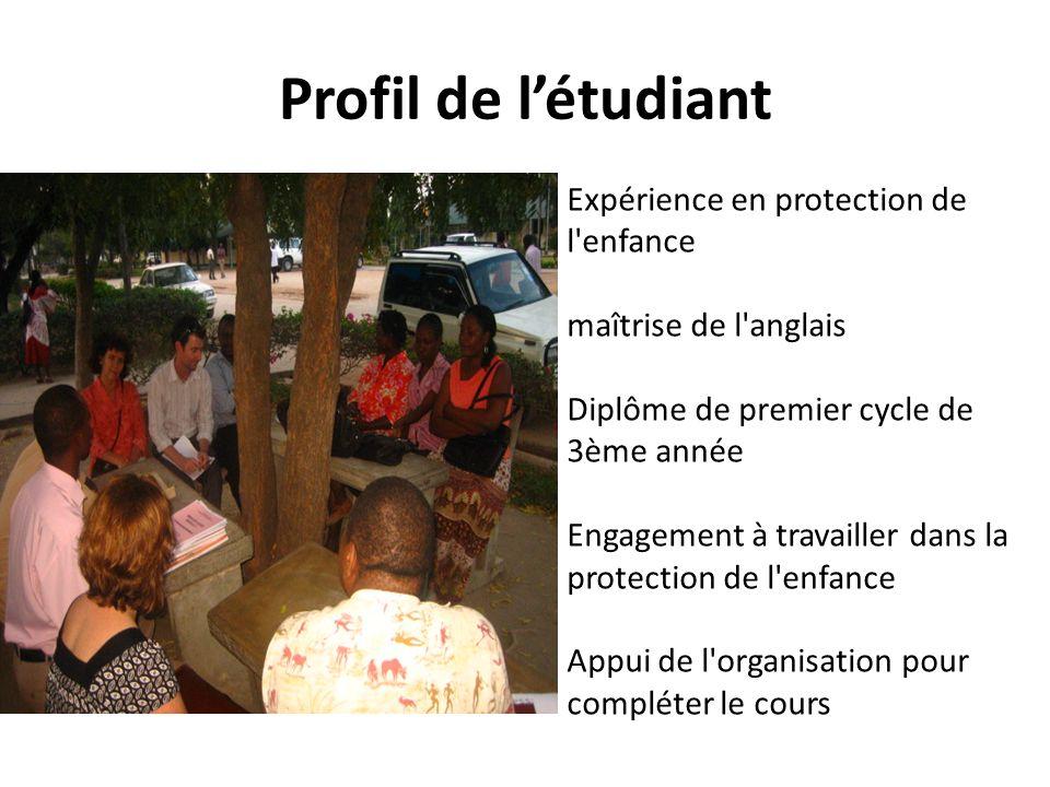 Profil de létudiant Expérience en protection de l'enfance maîtrise de l'anglais Diplôme de premier cycle de 3ème année Engagement à travailler dans la