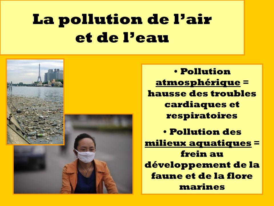 La pollution de lair et de leau Pollution atmosphérique = hausse des troubles cardiaques et respiratoires Pollution des milieux aquatiques = frein au