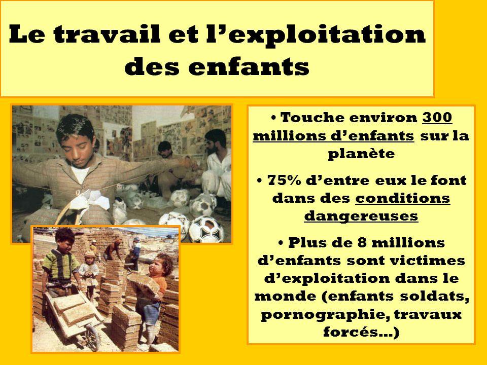 Le travail et lexploitation des enfants Touche environ 300 millions denfants sur la planète 75% dentre eux le font dans des conditions dangereuses Plu