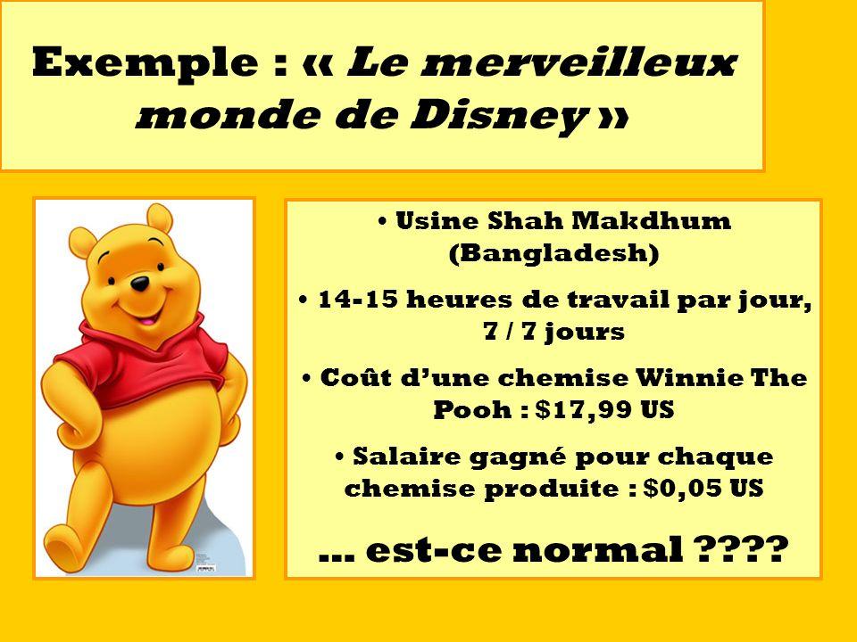 Exemple : « Le merveilleux monde de Disney » Usine Shah Makdhum (Bangladesh) 14-15 heures de travail par jour, 7 / 7 jours Coût dune chemise Winnie Th