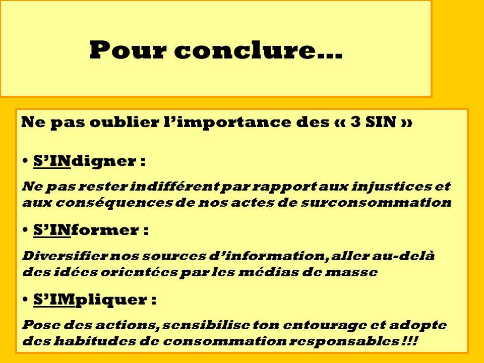 Pour conclure… Ne pas oublier limportance des « 3 SIN » SINdigner : Ne pas rester indifférent par rapport aux injustices et aux conséquences de nos ac