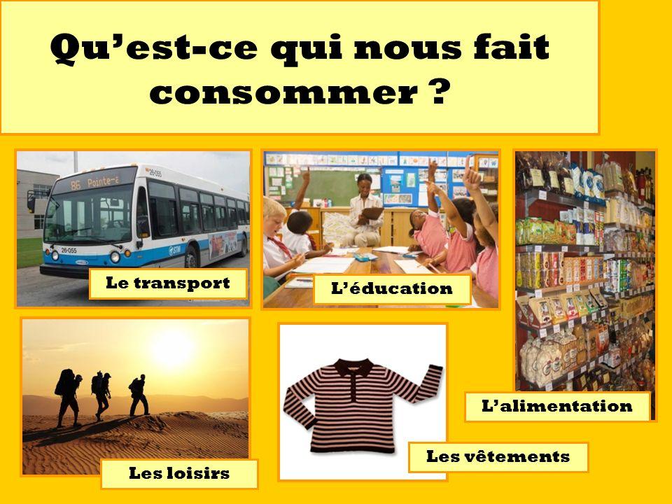 Quest-ce qui nous fait consommer ? Le transport Léducation Lalimentation Les loisirs Les vêtements