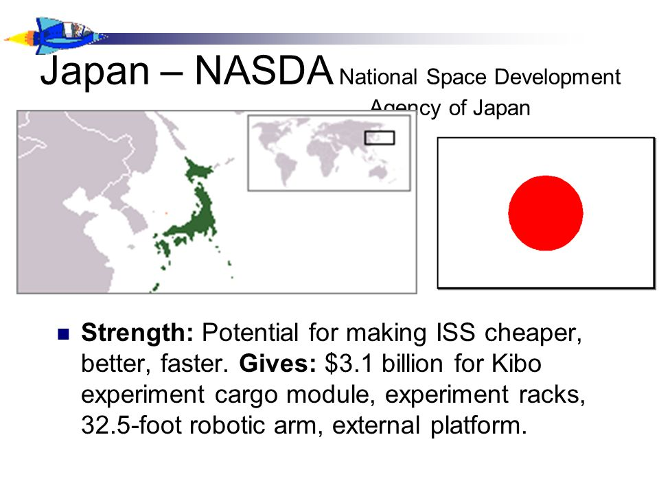 Japan – NASDA National Space Development Agency of Japan Strength: Potential for making ISS cheaper, better, faster.