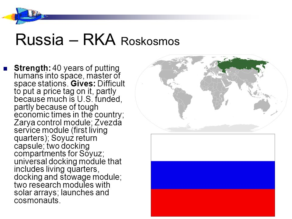 Russia – RKA Roskosmos Strength: 40 years of putting humans into space, master of space stations.