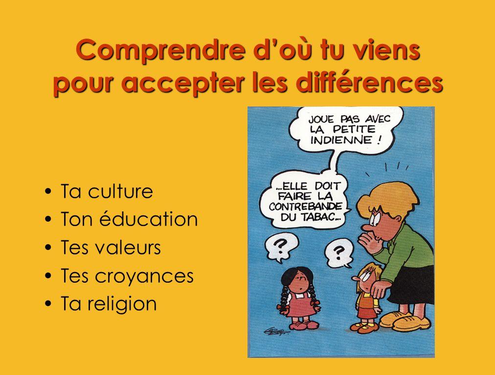 Comprendre doù tu viens pour accepter les différences Ta culture Ton éducation Tes valeurs Tes croyances Ta religion