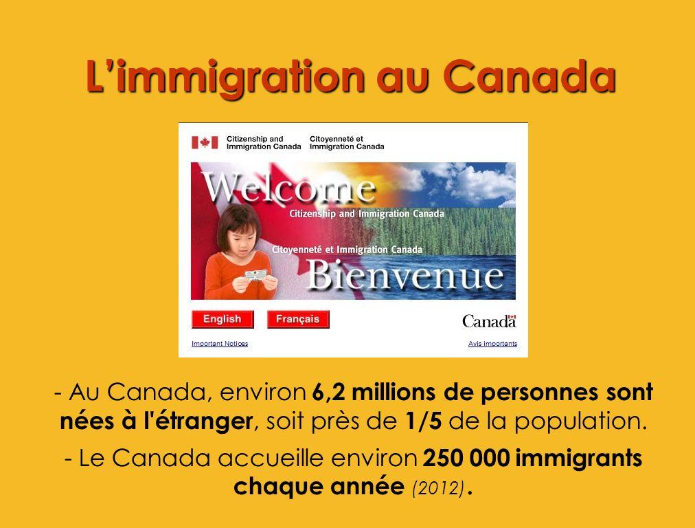 Limmigration au Canada - Au Canada, environ 6,2 millions de personnes sont nées à l'étranger, soit près de 1/5 de la population. - Le Canada accueille